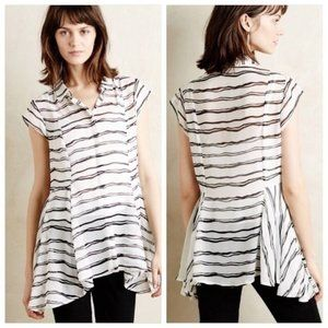 Anthropologie Meadow Rue Black and White Sheer Top